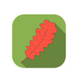 oak leaf flat icon with long shadow autumn leaf vector image vector image