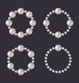 pearl beads set glamour borders on dark vector image