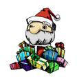 Pen stroke santa claus and gift boxs vector image vector image