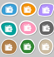 Purse symbols Multicolored paper stickers vector image