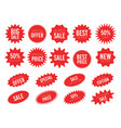 red sale starburst sticker set - collcetion of vector image
