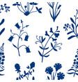 seamless pattern with hand drawn wild flowers vector image vector image