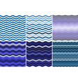 set 6 seamless pattern with colorful blue waves vector image