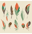 set hand drawn feathers vector image vector image