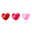 set hand painted watercolor hearts vector image vector image