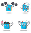 set of blue book character with fitness sailor ice vector image vector image