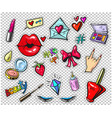 set of fashion stickers pins patches in cartoon vector image vector image