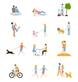 Set of images of couples in the flat style vector image