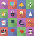 Set of wedding icons Flat style vector image vector image