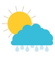 sun and cloud with drops rain colorful silhouette vector image vector image