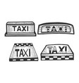 taxi sign top light box set sketch engraving vector image vector image