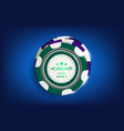 top view of casino black and white chips on blue vector image vector image