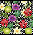 tropical flower and kiwi with abstract background vector image vector image
