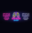 vape shop neon sign vaping store logo vector image