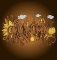 vintage autumn word with doodle elements pumpkin vector image vector image