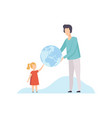 young man and cute girl holding big terrestrial vector image vector image