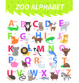 Zoo alphabet with cute animals cartoon flat