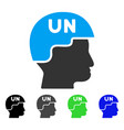 united nations soldier helmet flat icon vector image