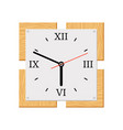 square modern wooden wall clock vector image