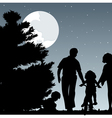 family walks with children in the evening a vector image