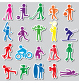 sport silhouettes color simple stickers set eps10 vector image