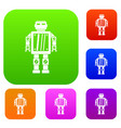 abstract robot set color collection vector image vector image