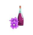 aromatic oil in glass bottle and beautiful orchid vector image