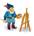 artist with easel brushes and paints colored vector image
