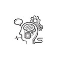 brain machine interface hand drawn outline doodle vector image vector image