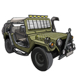 cartoon car Military SUV with awning and canopies vector image
