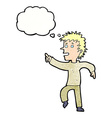 cartoon happy man pointing with thought bubble vector image vector image