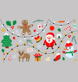 Cartoon merry christmas and happy new year vector image