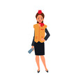 caucasian stewardess girl and woman standing in vector image vector image