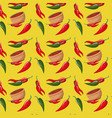 chili peppers and bowl pattern in yellow vector image