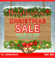christmas sale banner on hanging wood board vector image vector image