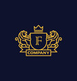 coat of arms letter f company vector image vector image