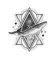creative geometric whale tattoo art style vector image vector image
