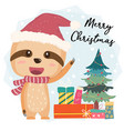 cute happy smilling sloth flat with gift boxes vector image vector image