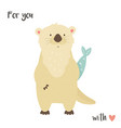 cute romantic otter with a fish vector image vector image