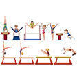 Different types of gymnastics with equipments vector image vector image