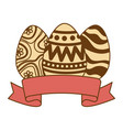 eggs painted with ribbon frame vector image