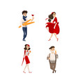 flat french style fashion people set vector image vector image