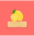 fresh lemon on wood chopping block vector image