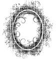 grunge floral decor - black retro oval frame with vector image