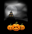 halloween background pumpkins and spooky castle vector image vector image