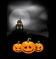 halloween background pumpkins and spooky castle vector image vector image