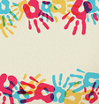 Hand print art of diversity people community vector image vector image