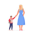 happy mother walking with son isolated on white vector image