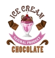Ice cream badge with chocolate and sherry sundae vector image vector image