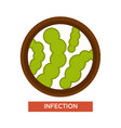 infection microbes and germs magnifying glass vector image vector image